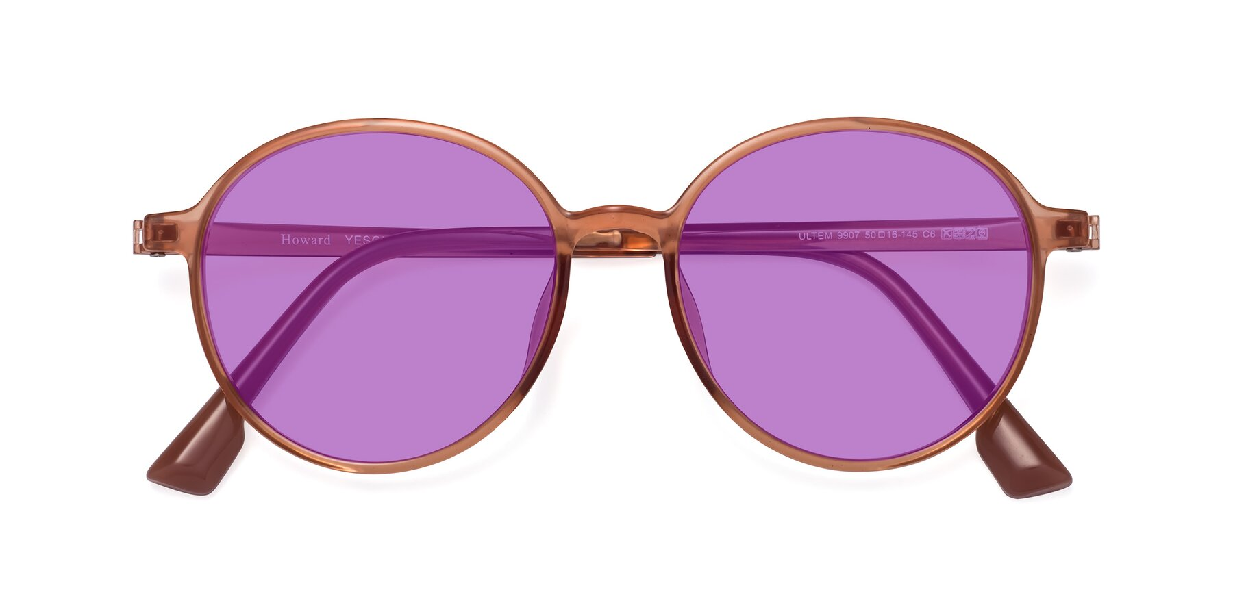 Folded Front of Howard in Coral with Medium Purple Tinted Lenses
