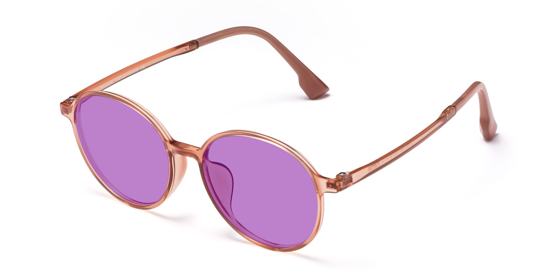 Angle of Howard in Coral with Medium Purple Tinted Lenses