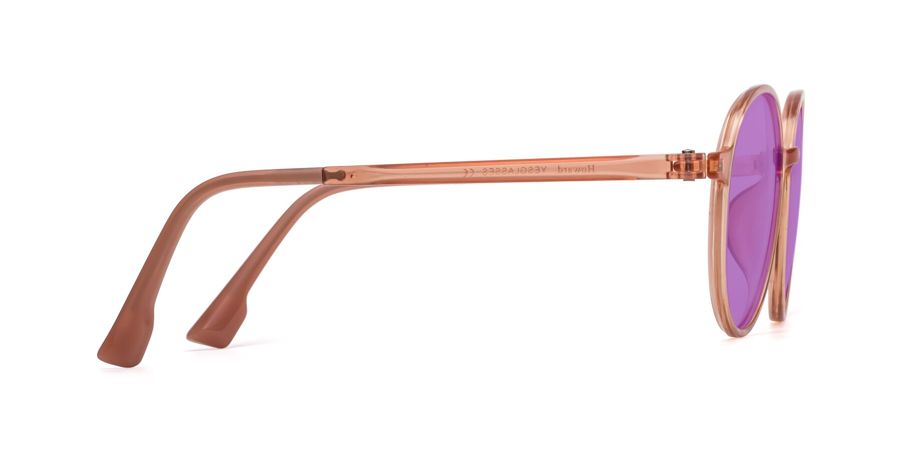 Side of Howard in Coral with Medium Purple Tinted Lenses