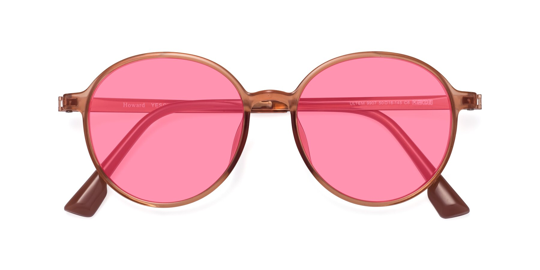 Folded Front of Howard in Coral with Pink Tinted Lenses
