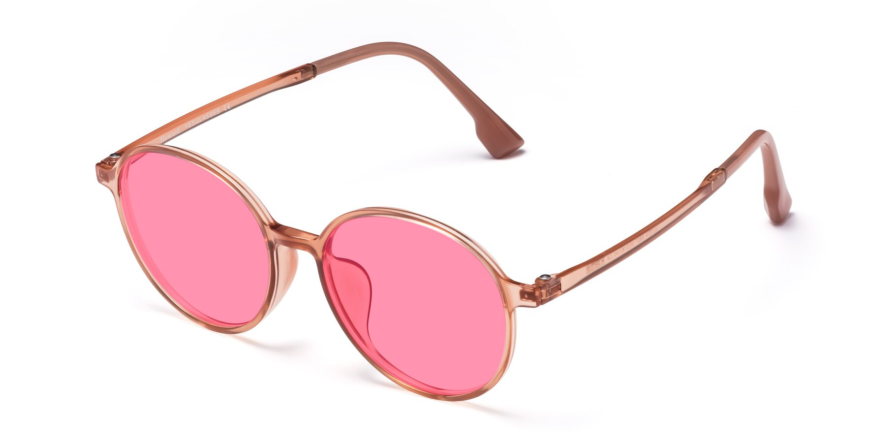 Angle of Howard in Coral with Pink Tinted Lenses