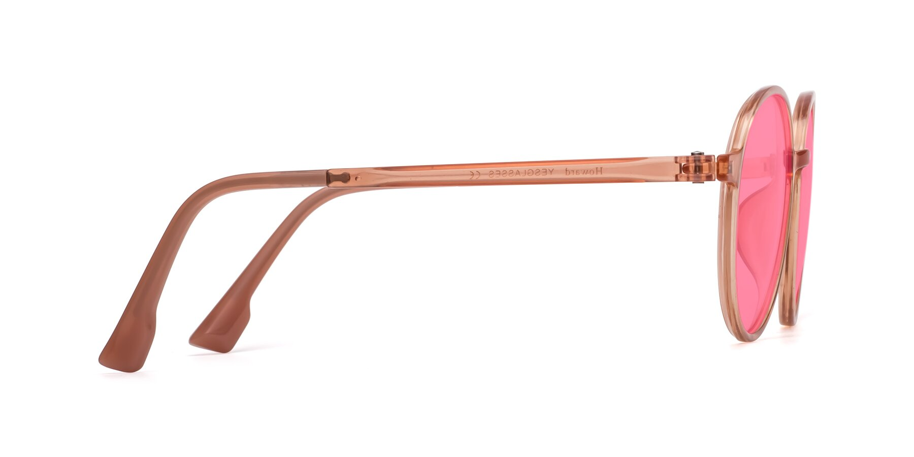 Side of Howard in Coral with Pink Tinted Lenses