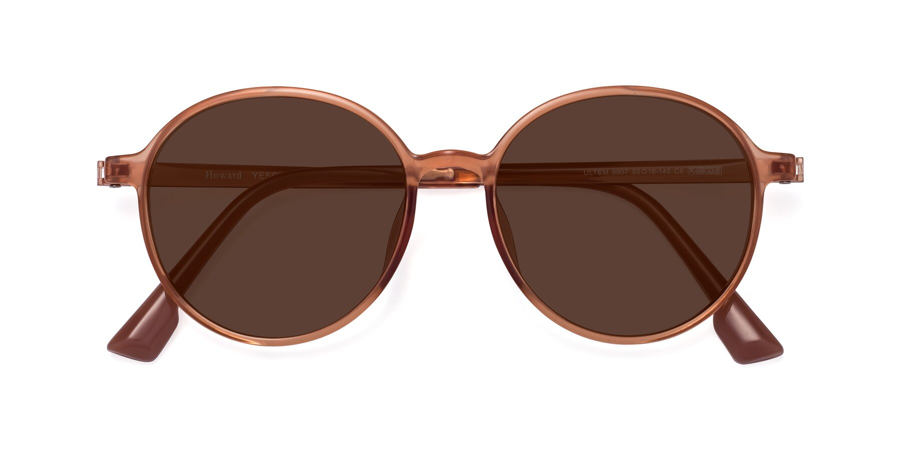 Folded Front of Howard in Coral with Brown Tinted Lenses