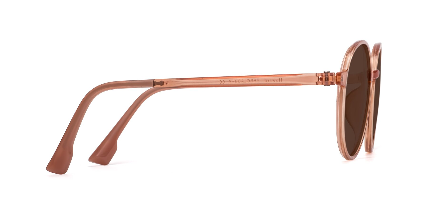 Side of Howard in Coral with Brown Tinted Lenses