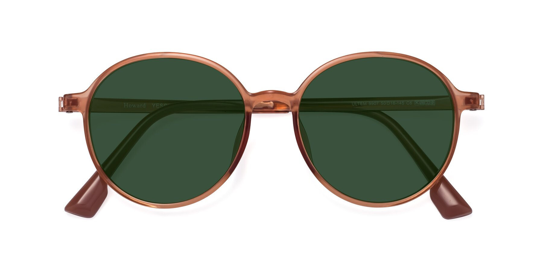 Folded Front of Howard in Coral with Green Tinted Lenses