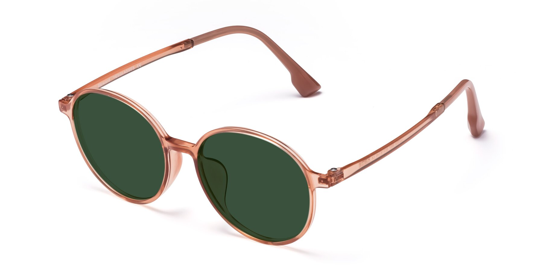 Angle of Howard in Coral with Green Tinted Lenses