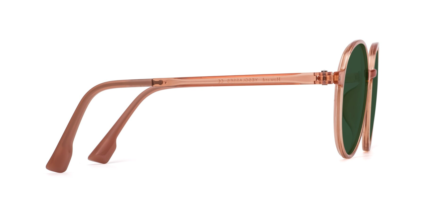 Side of Howard in Coral with Green Tinted Lenses