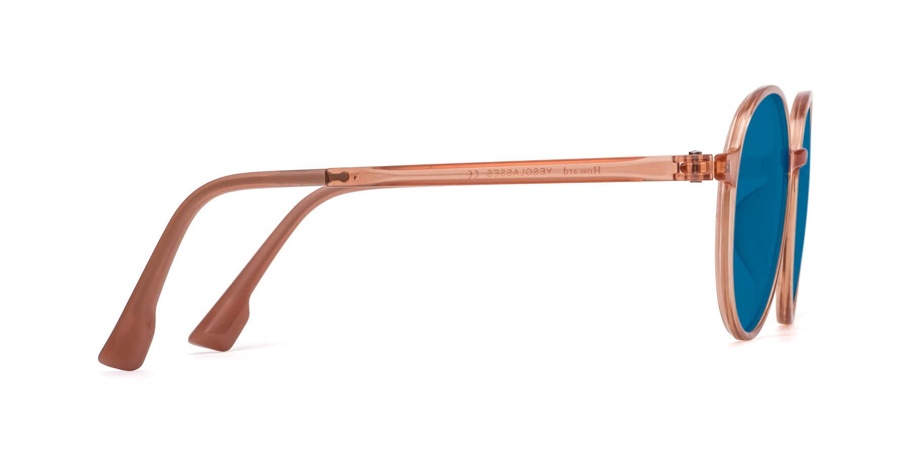 Side of Howard in Coral with Blue Tinted Lenses