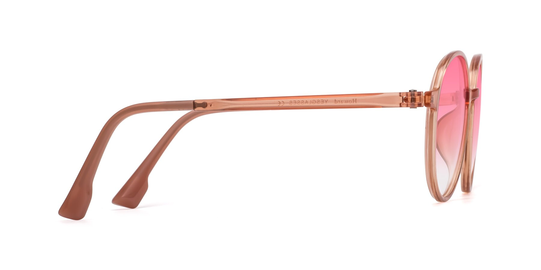 Side of Howard in Coral with Pink Gradient Lenses