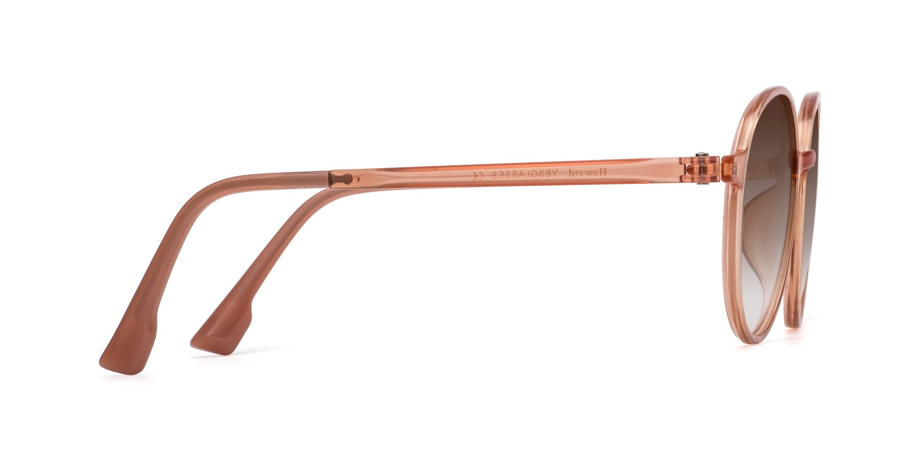 Side of Howard in Coral with Brown Gradient Lenses