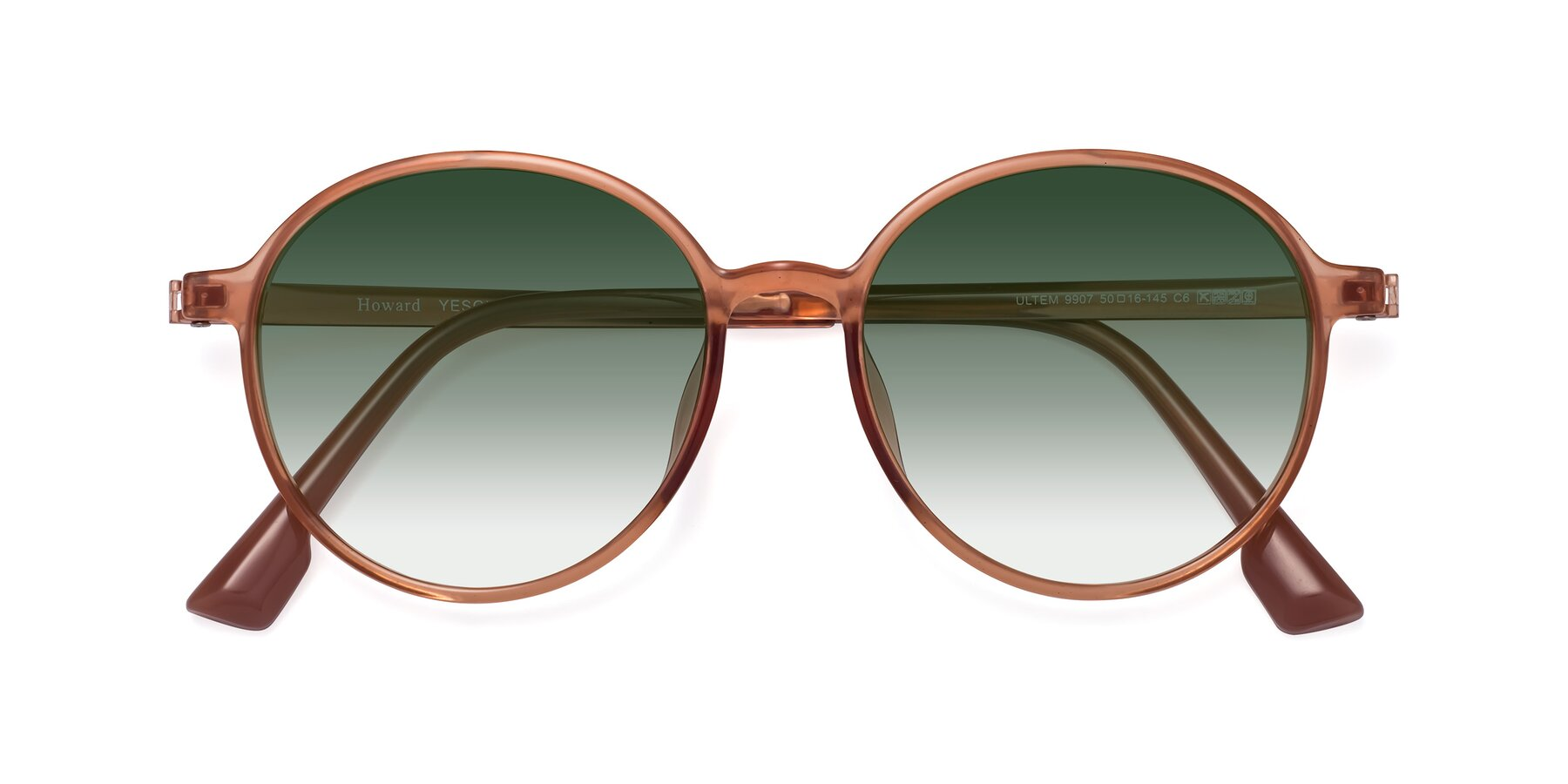 Folded Front of Howard in Coral with Green Gradient Lenses