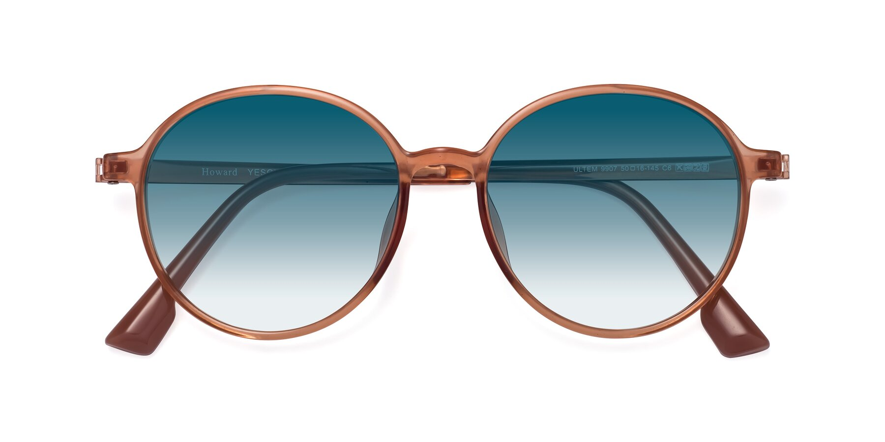 Folded Front of Howard in Coral with Blue Gradient Lenses