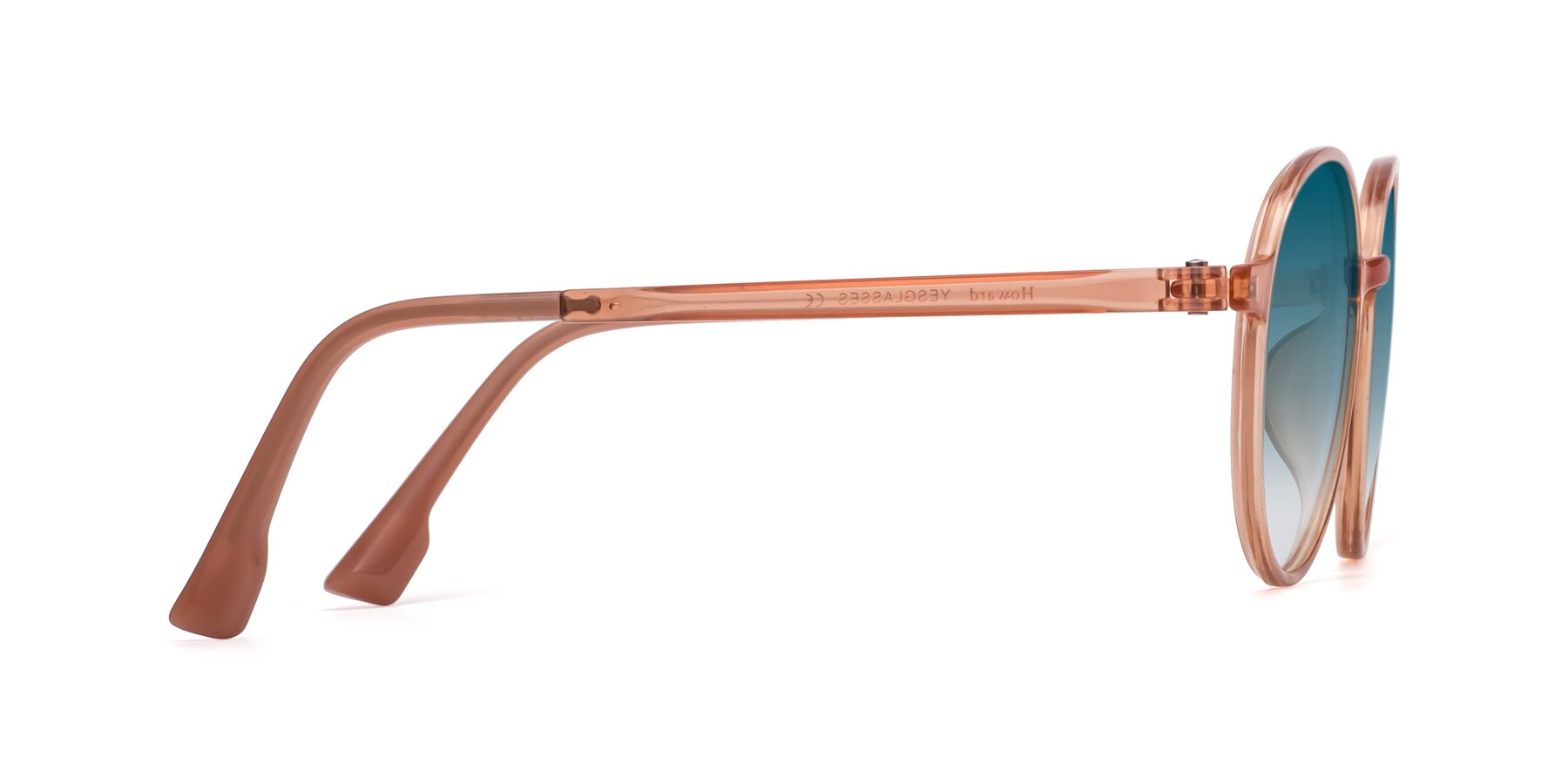 Side of Howard in Coral with Blue Gradient Lenses