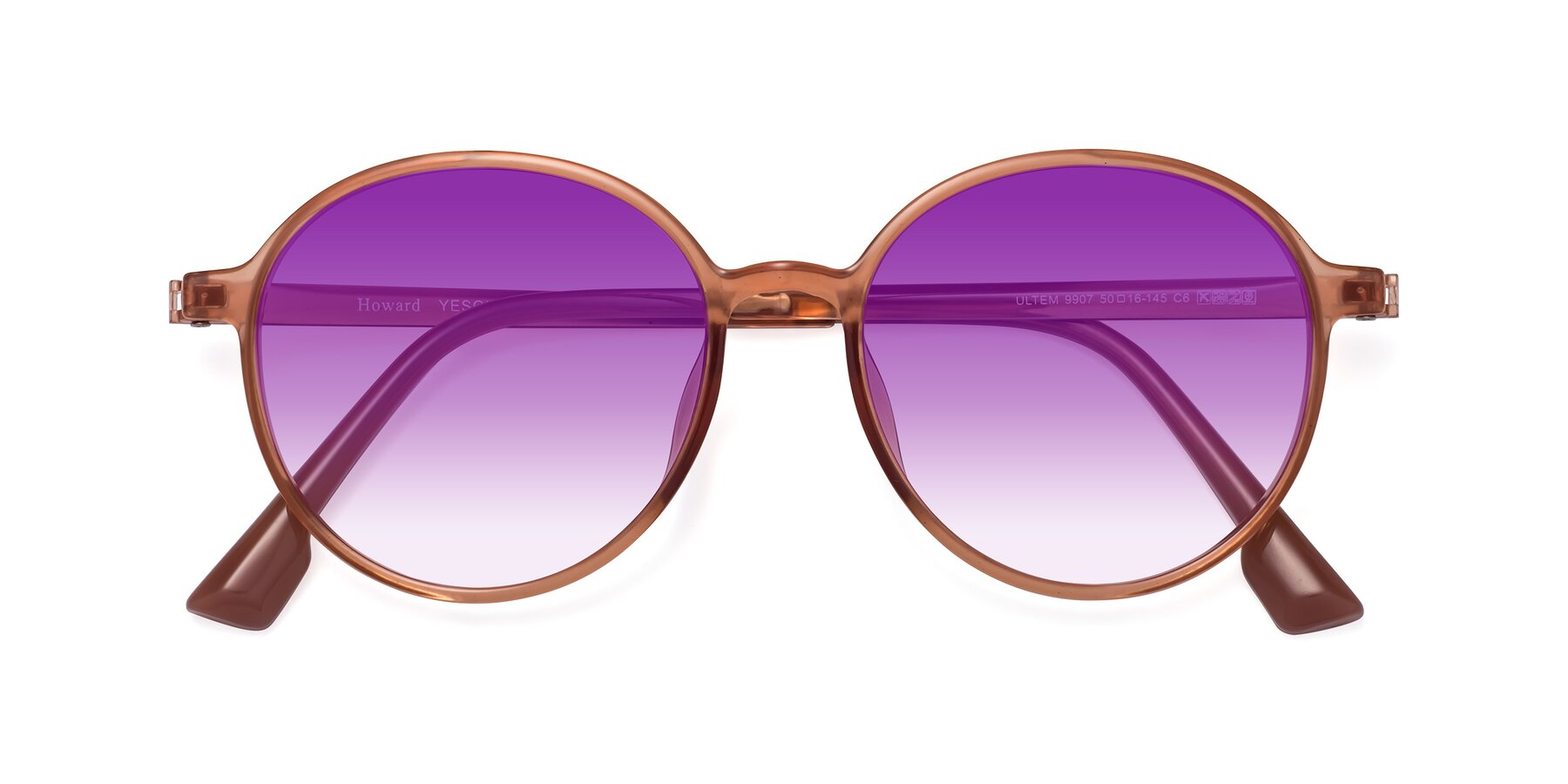 Folded Front of Howard in Coral with Purple Gradient Lenses