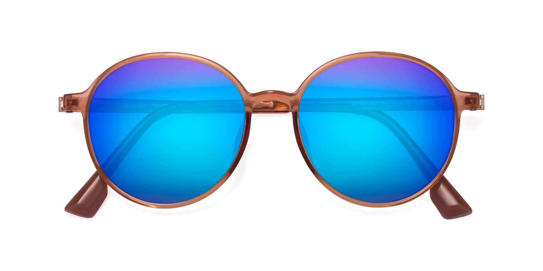 Folded Front of Howard in Coral with Blue Mirrored Lenses