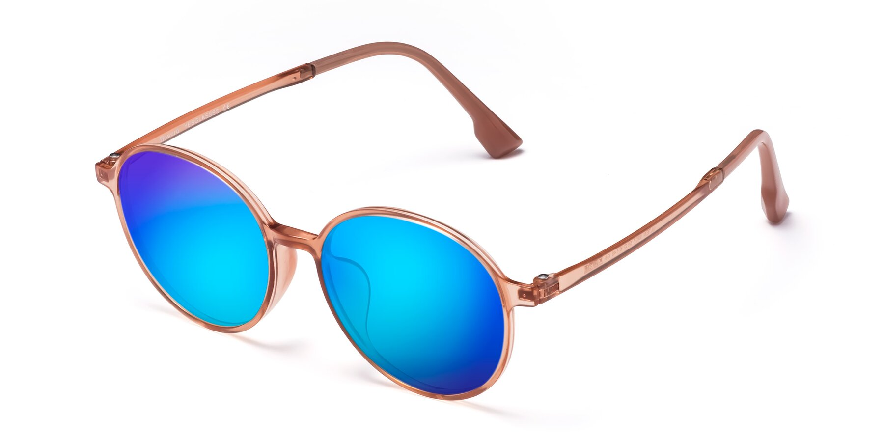 Angle of Howard in Coral with Blue Mirrored Lenses