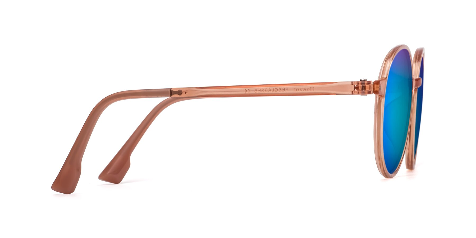 Side of Howard in Coral with Blue Mirrored Lenses