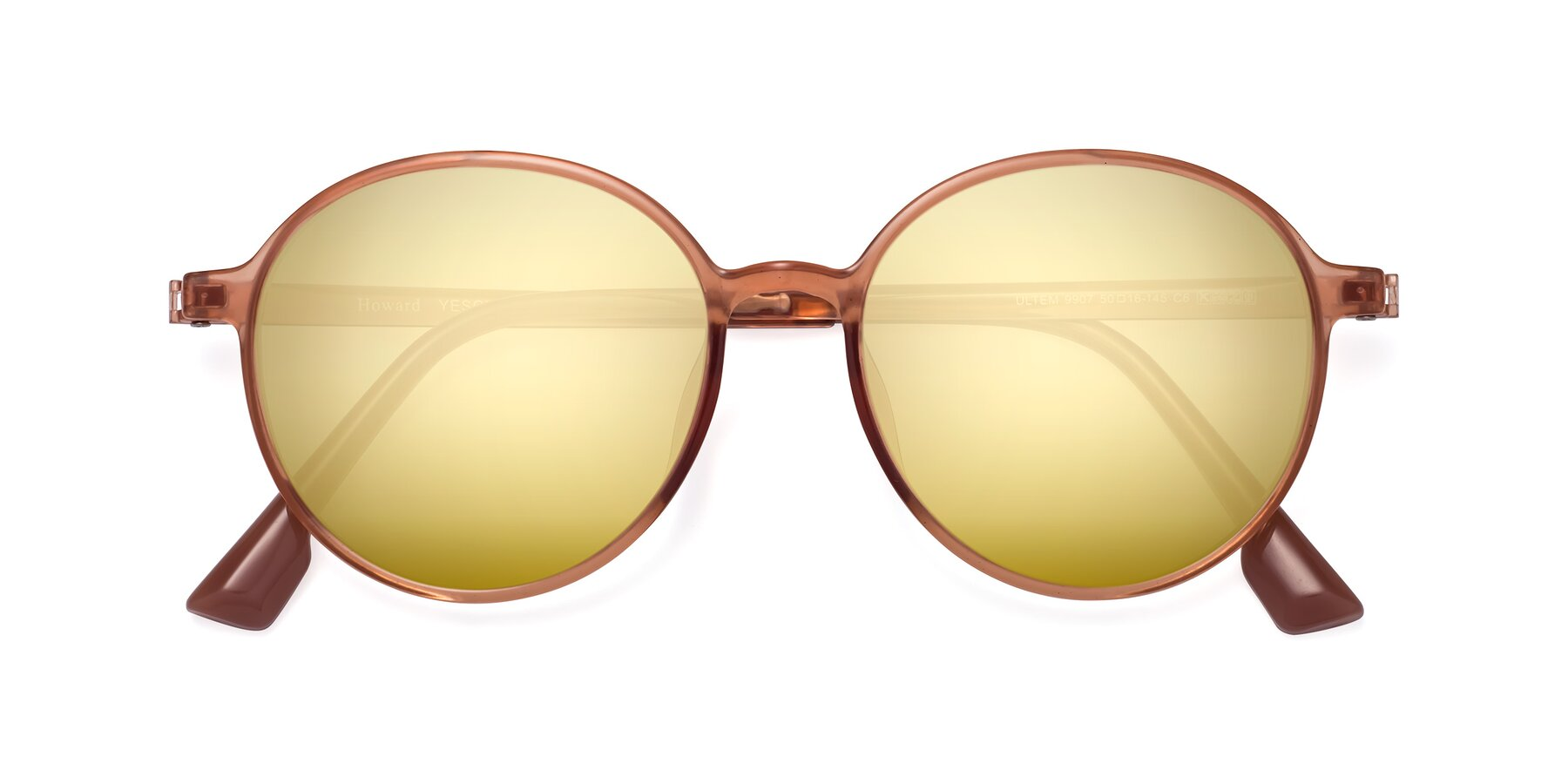 Folded Front of Howard in Coral with Gold Mirrored Lenses