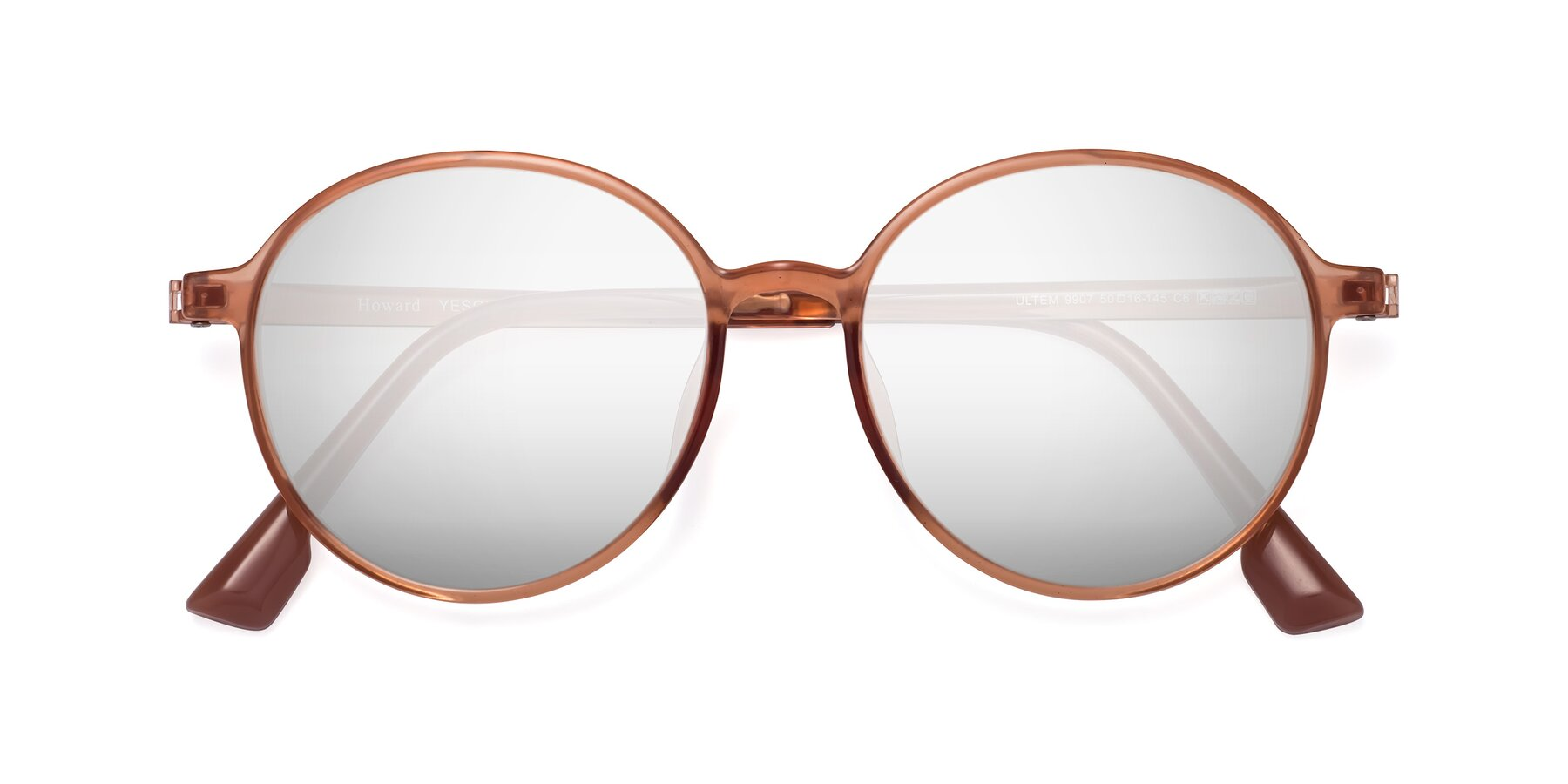 Folded Front of Howard in Coral with Silver Mirrored Lenses