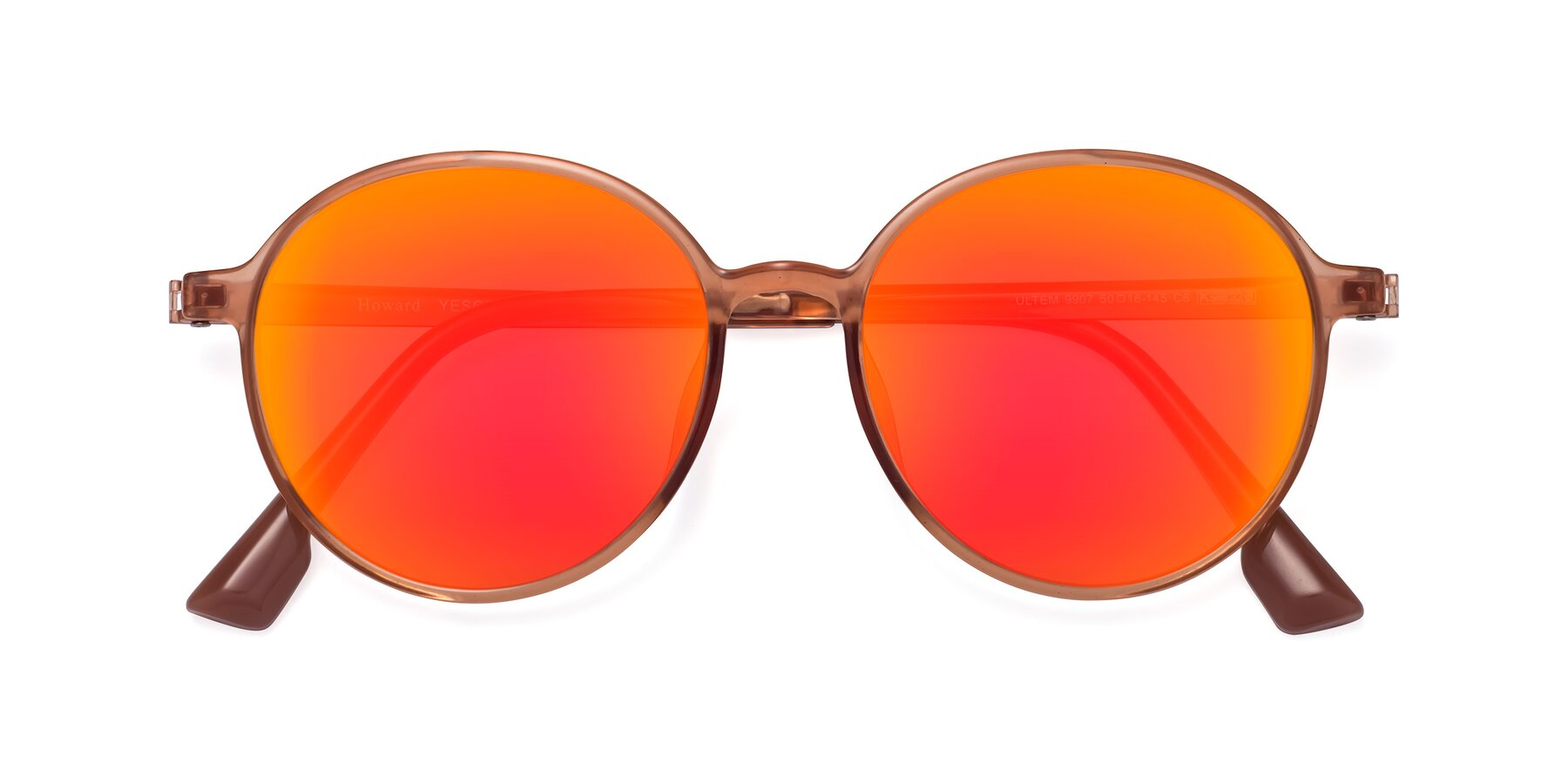 Folded Front of Howard in Coral with Red Gold Mirrored Lenses
