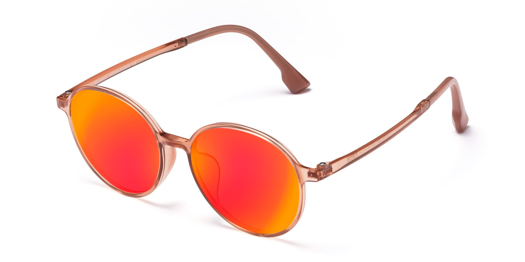 Angle of Howard in Coral with Red Gold Mirrored Lenses