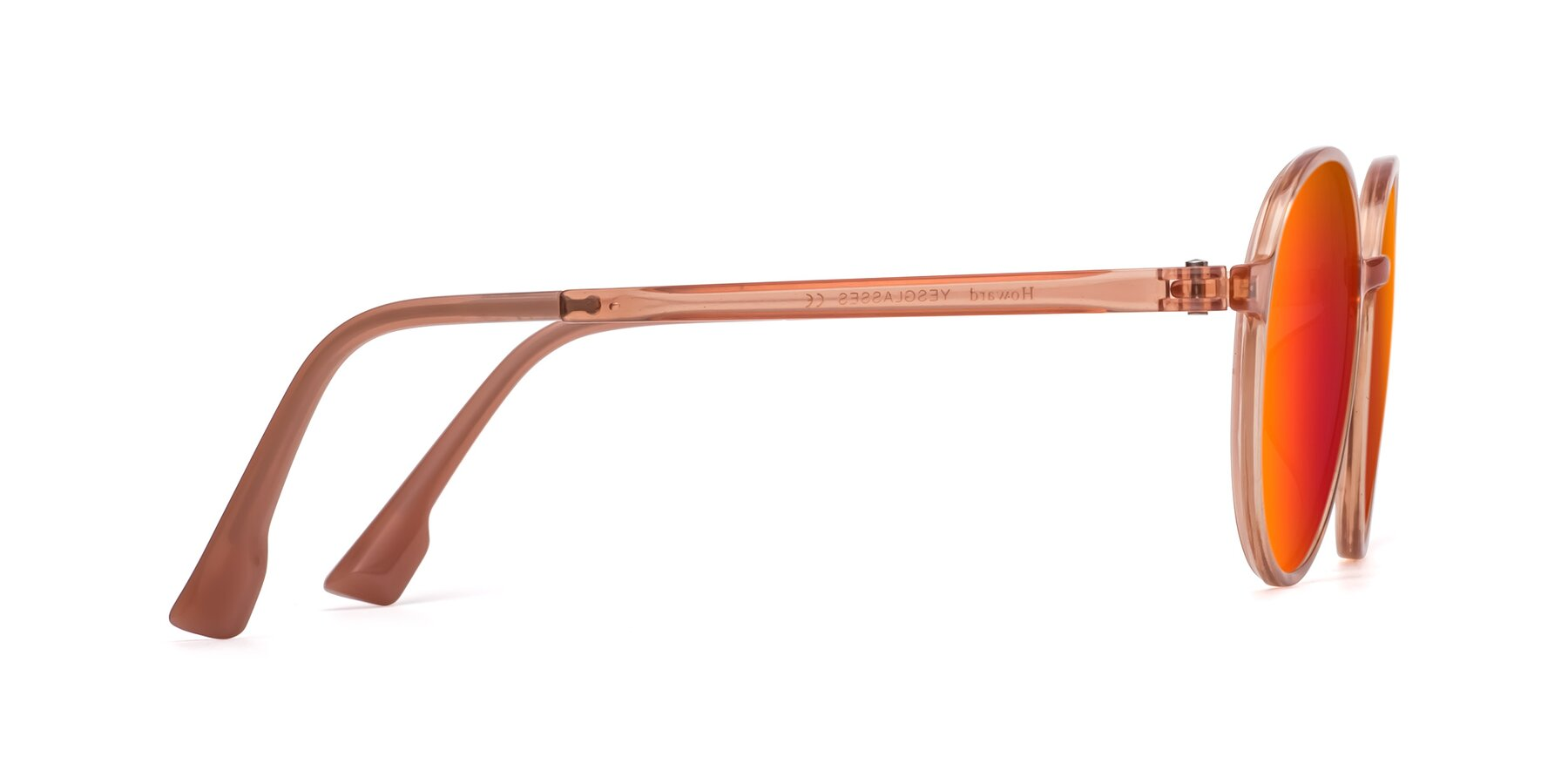 Side of Howard in Coral with Red Gold Mirrored Lenses