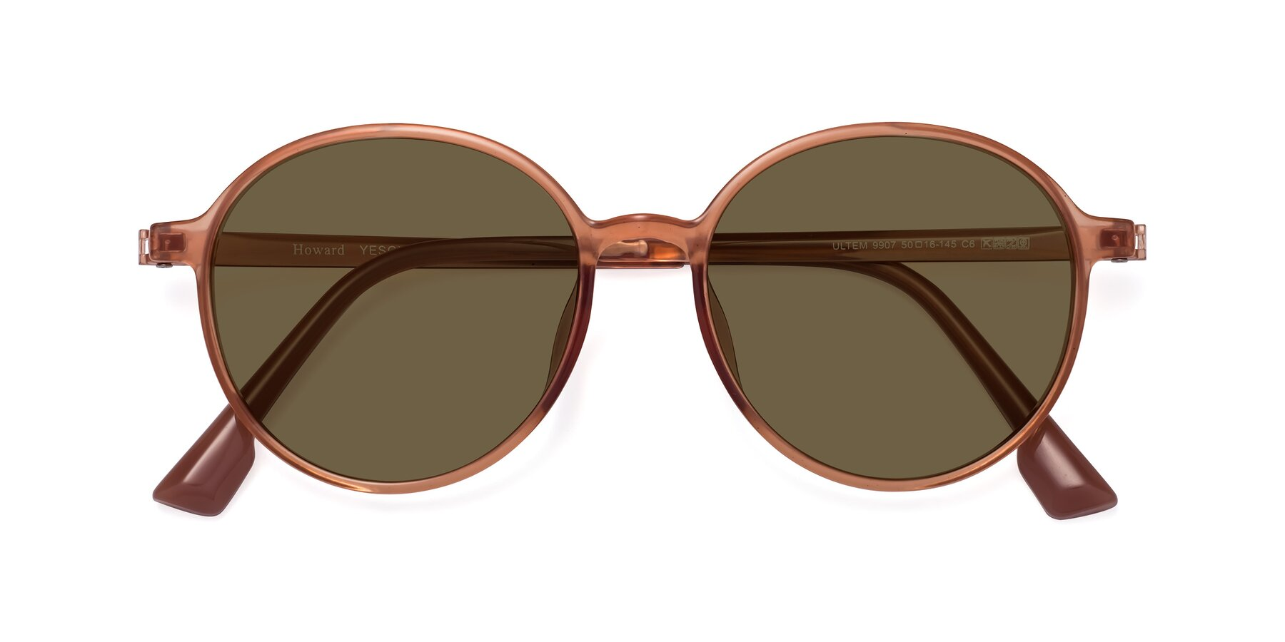 Folded Front of Howard in Coral with Brown Polarized Lenses