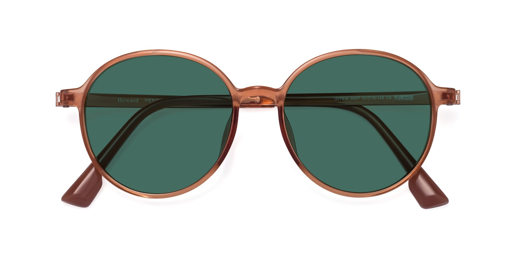 Folded Front of Howard in Coral with Green Polarized Lenses
