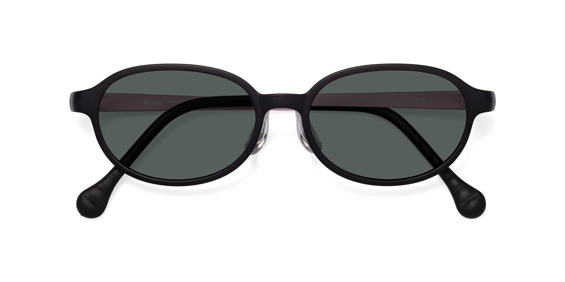 Folded Front of Reece in Black-Pink with Gray Polarized Lenses