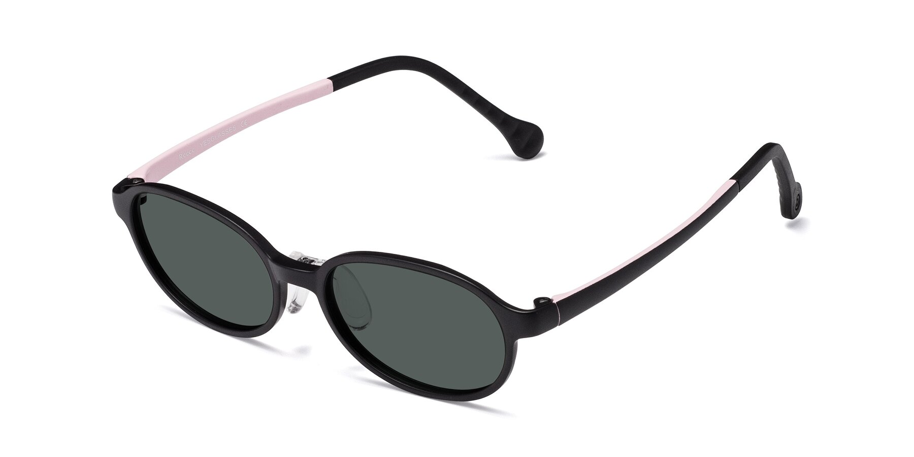 Angle of Reece in Black-Pink with Gray Polarized Lenses