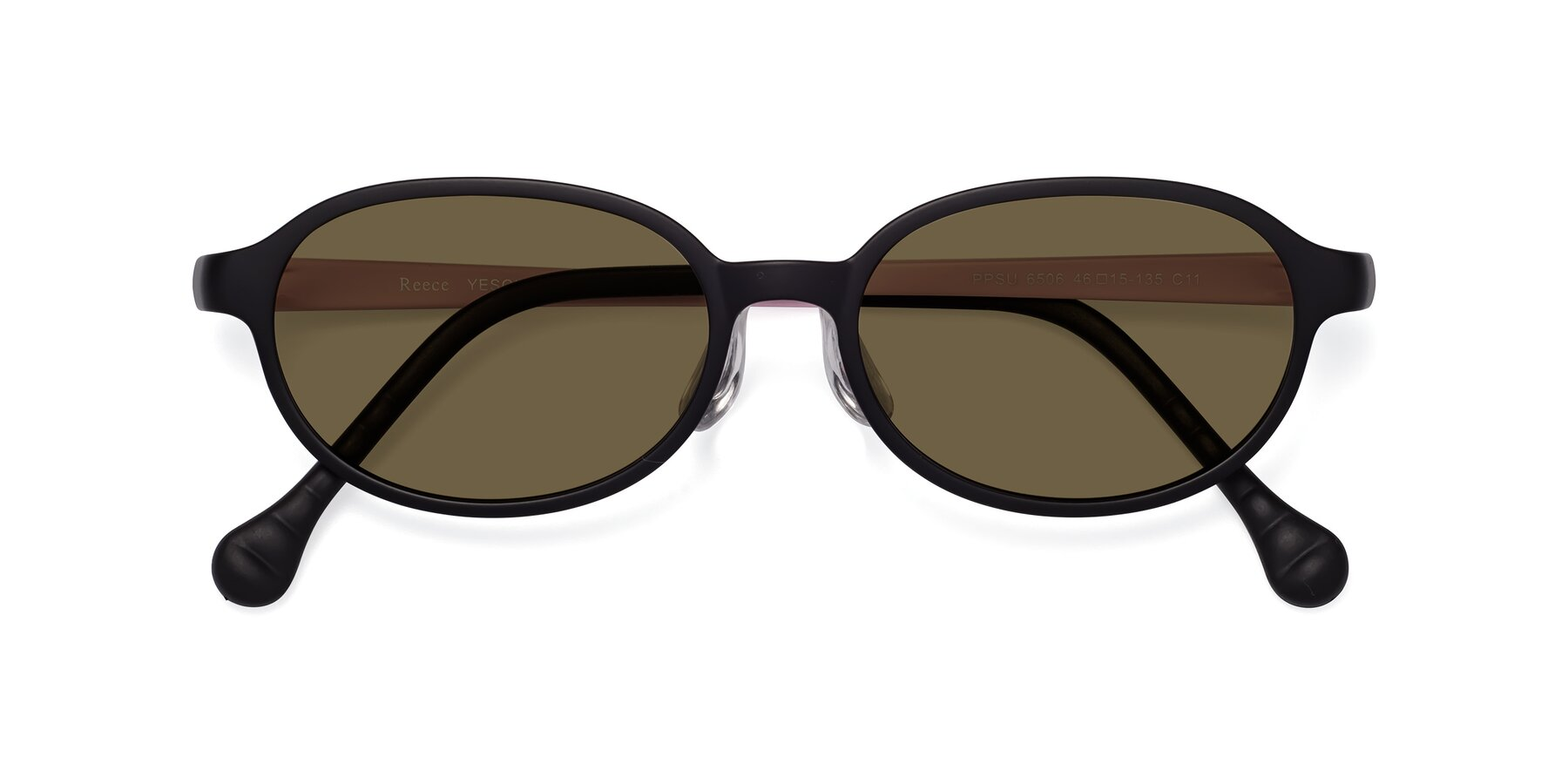 Folded Front of Reece in Black-Pink with Brown Polarized Lenses