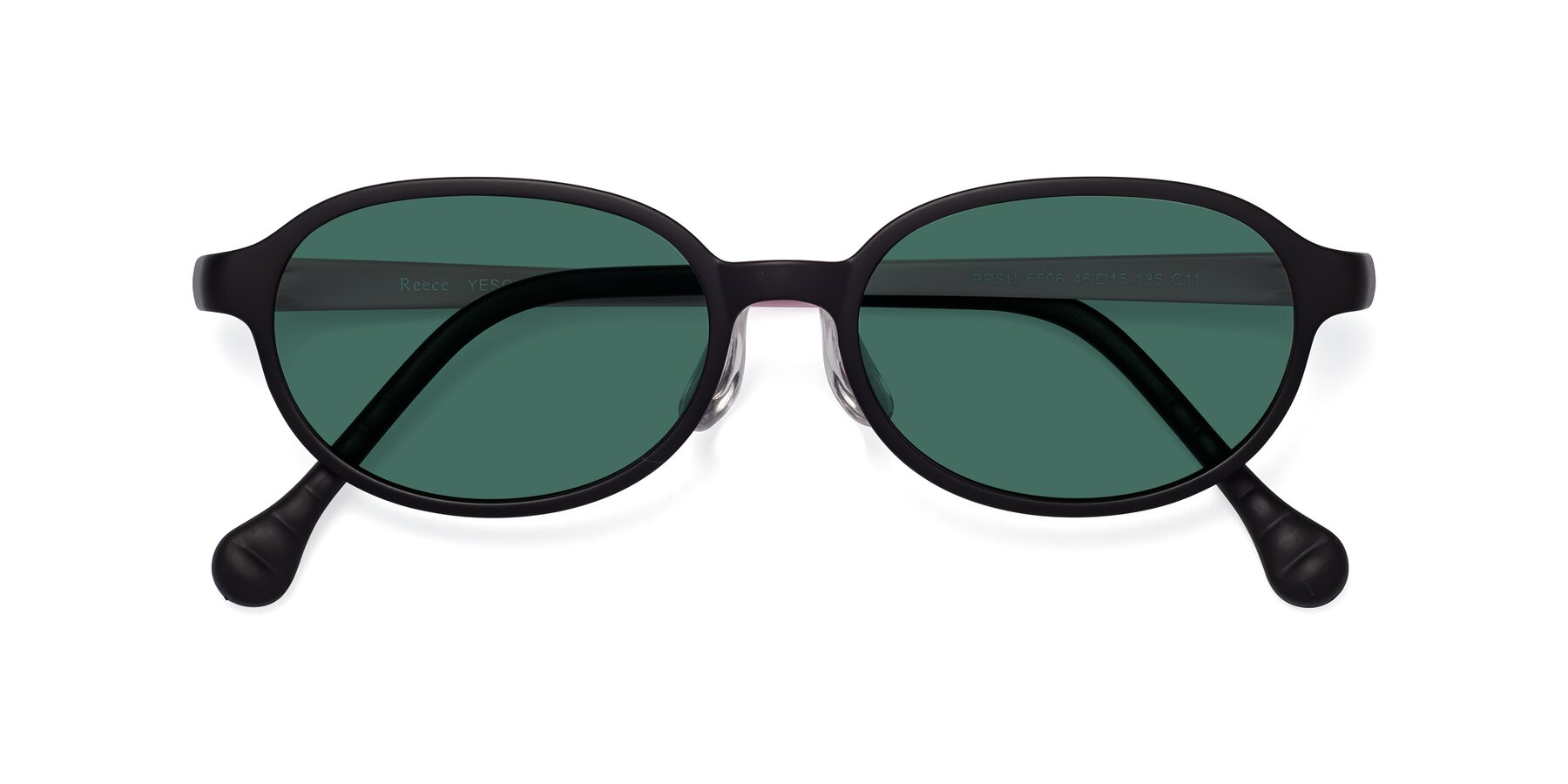 Folded Front of Reece in Black-Pink with Green Polarized Lenses