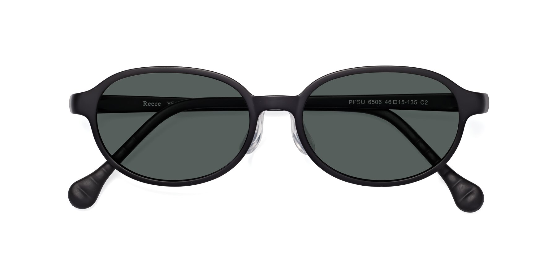 Folded Front of Reece in Matte Black with Gray Polarized Lenses