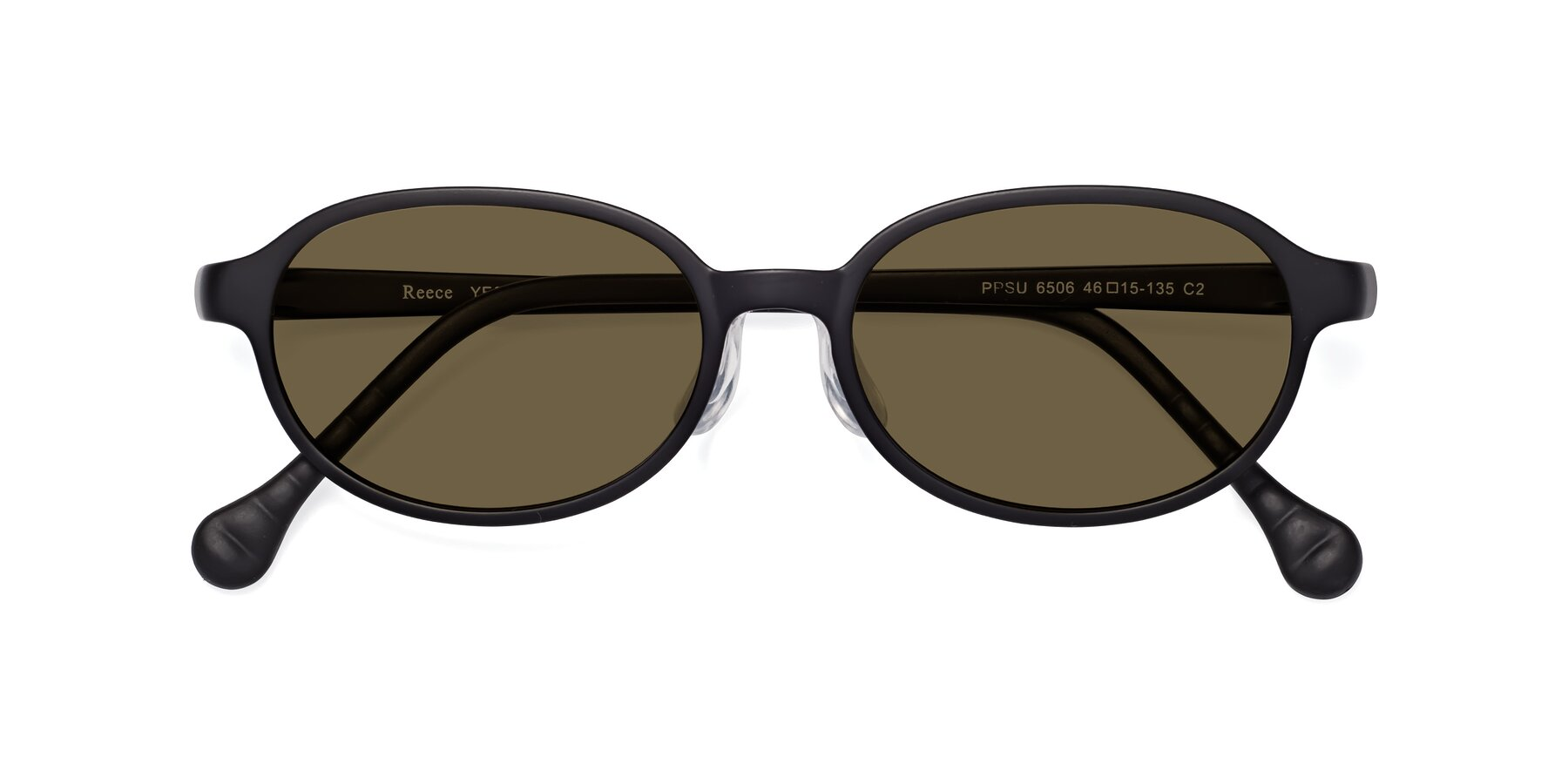 Folded Front of Reece in Matte Black with Brown Polarized Lenses