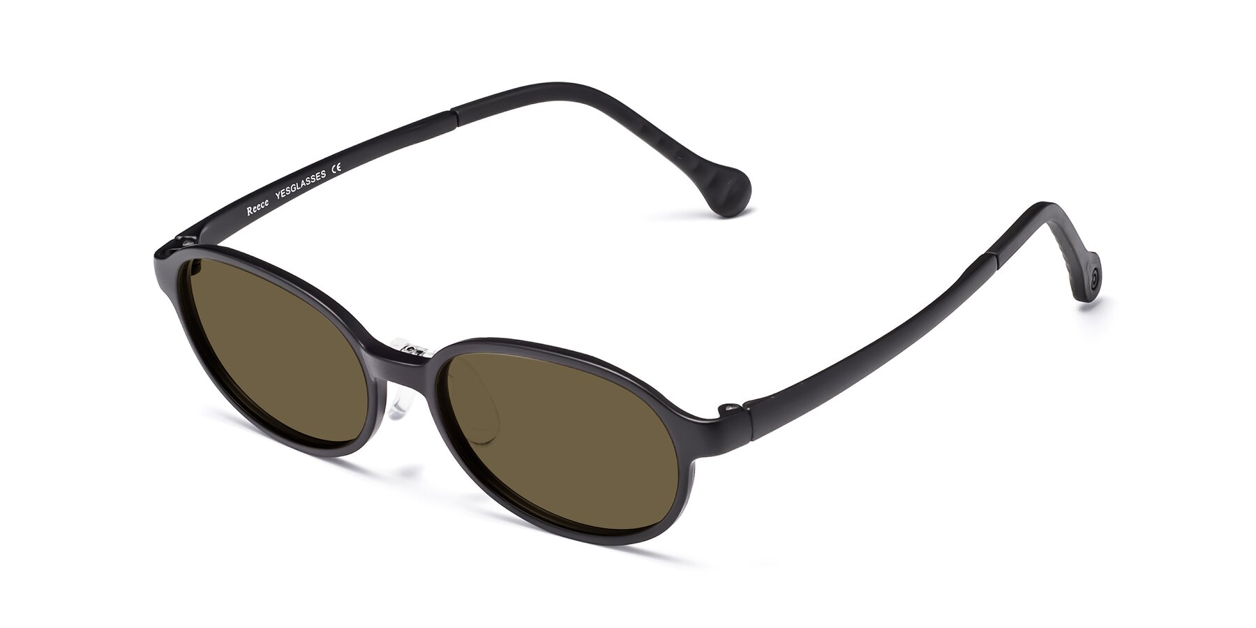 Angle of Reece in Matte Black with Brown Polarized Lenses