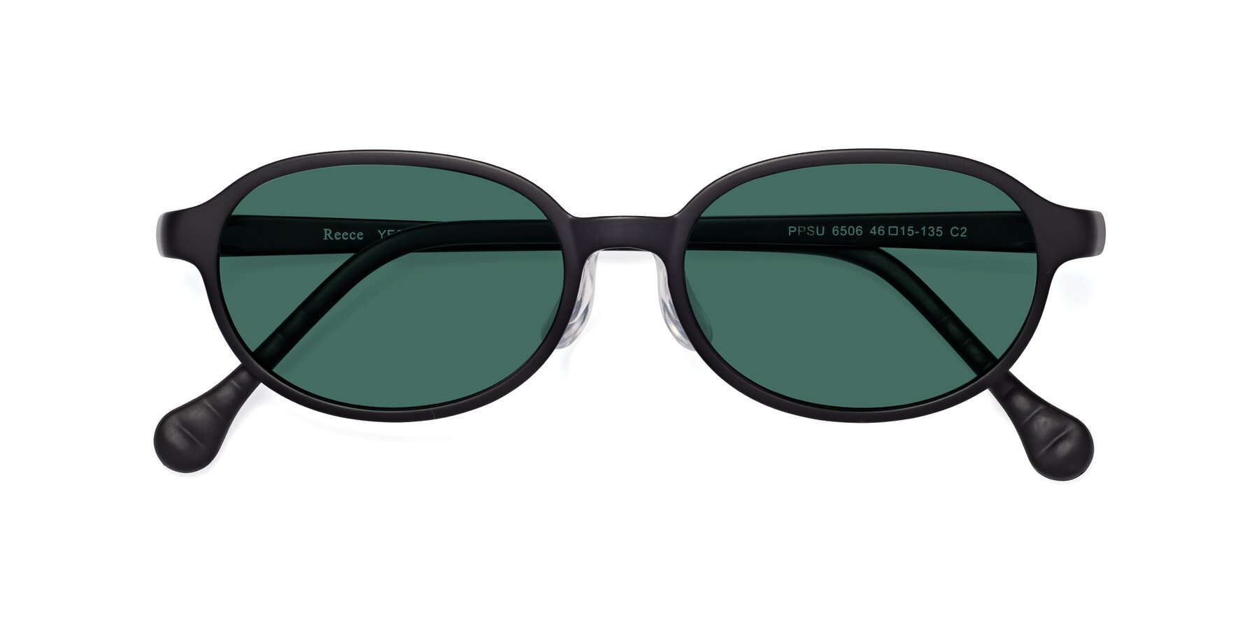 Folded Front of Reece in Matte Black with Green Polarized Lenses