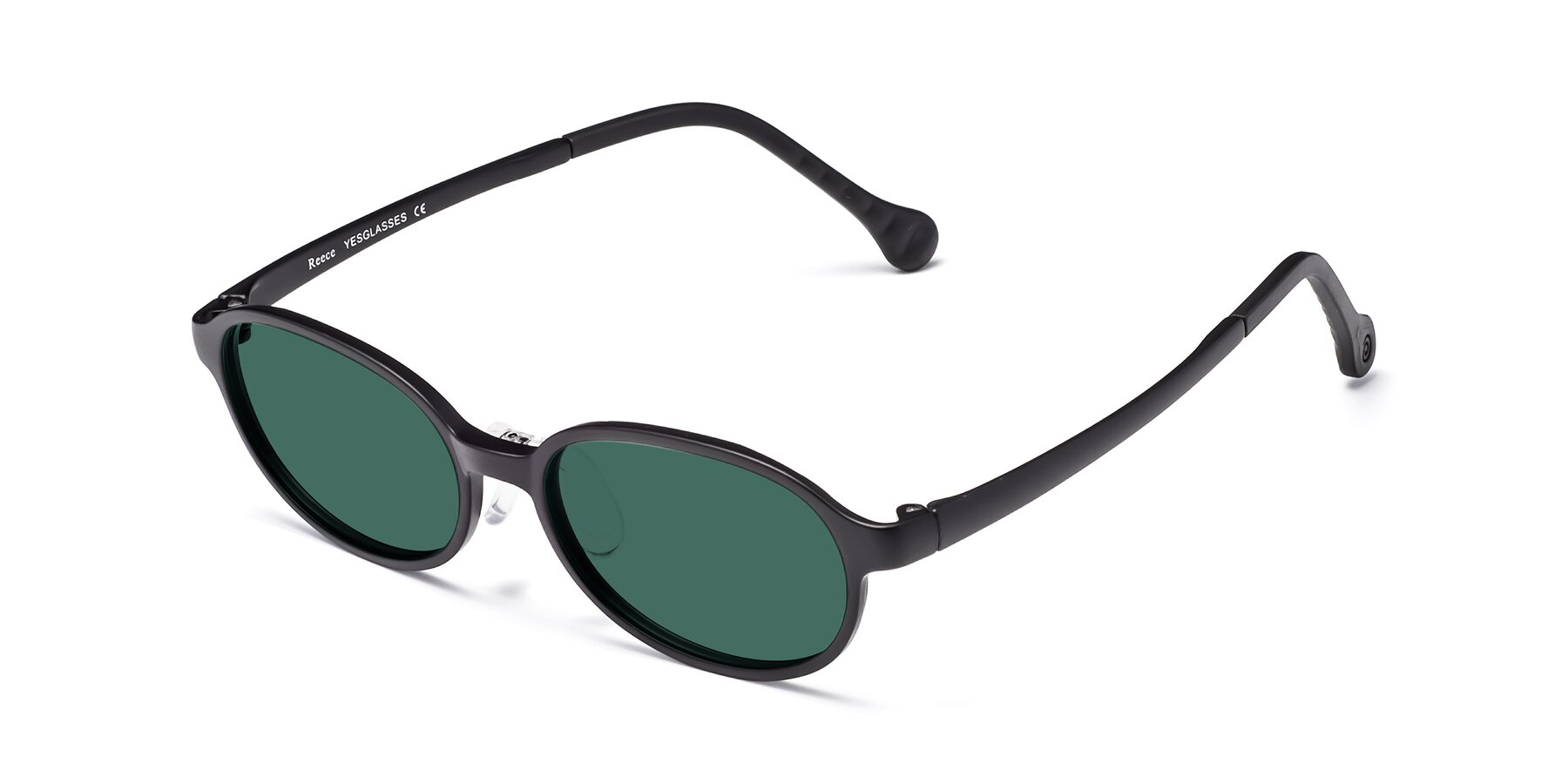 Angle of Reece in Matte Black with Green Polarized Lenses