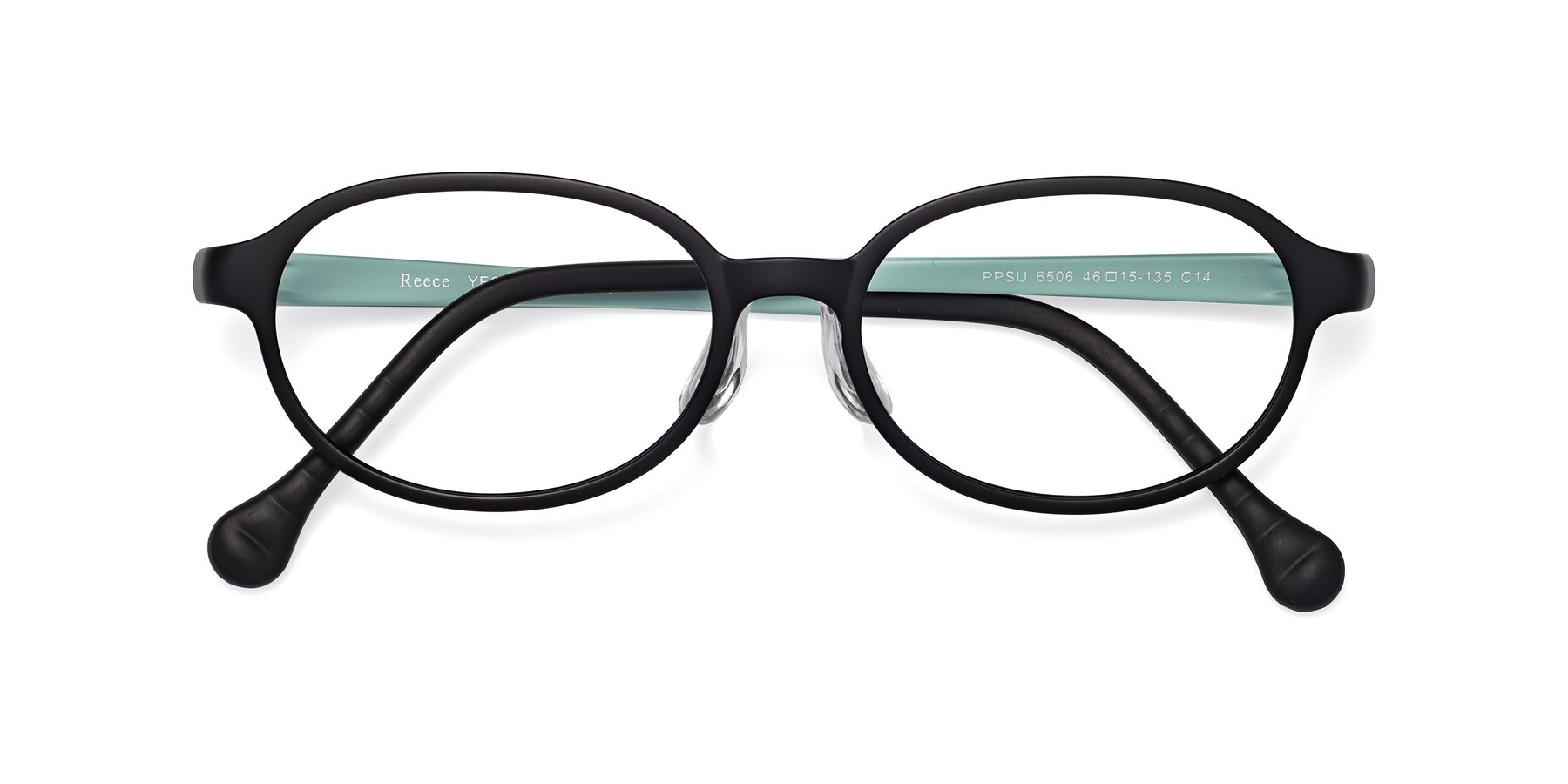 Folded Front of Reece in Black-Teal with Clear Eyeglass Lenses