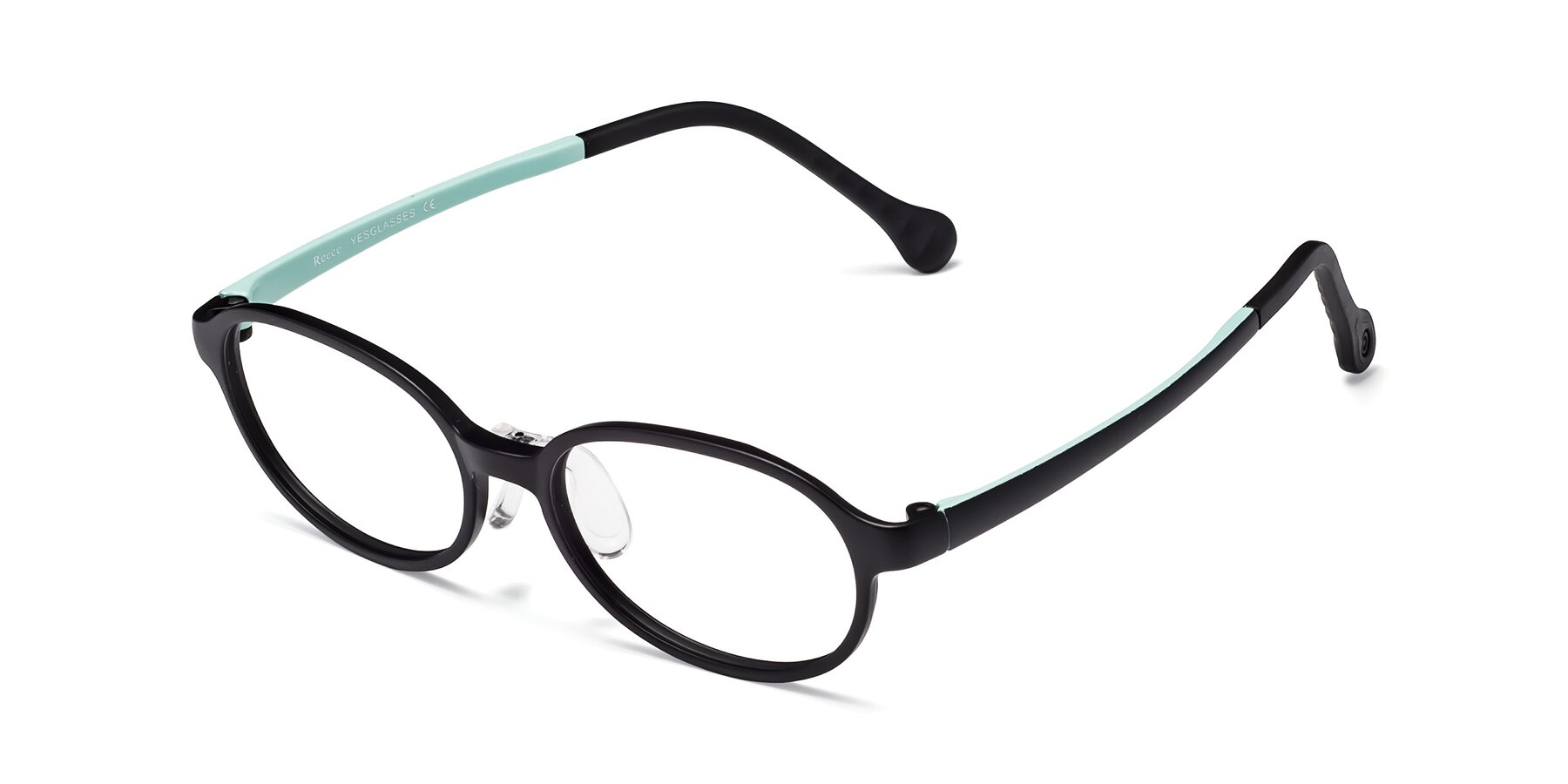 Angle of Reece in Black-Teal with Clear Eyeglass Lenses