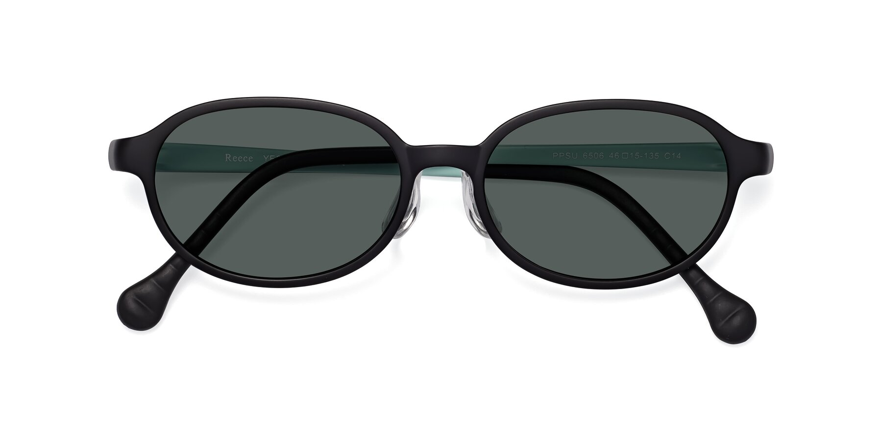 Folded Front of Reece in Black-Teal with Gray Polarized Lenses