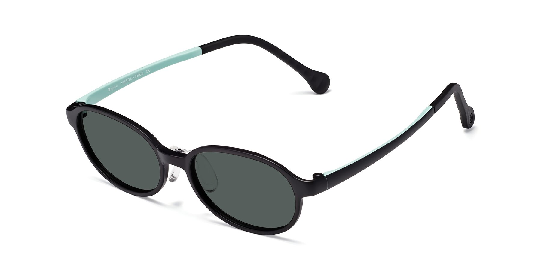Angle of Reece in Black-Teal with Gray Polarized Lenses