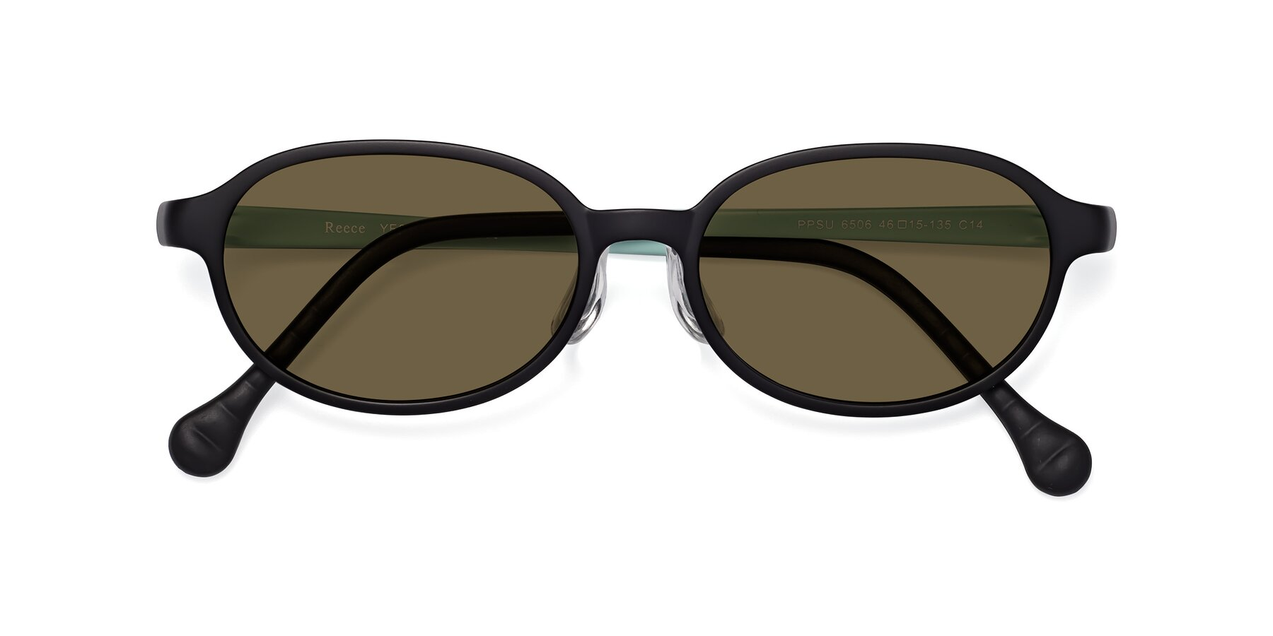 Folded Front of Reece in Black-Teal with Brown Polarized Lenses