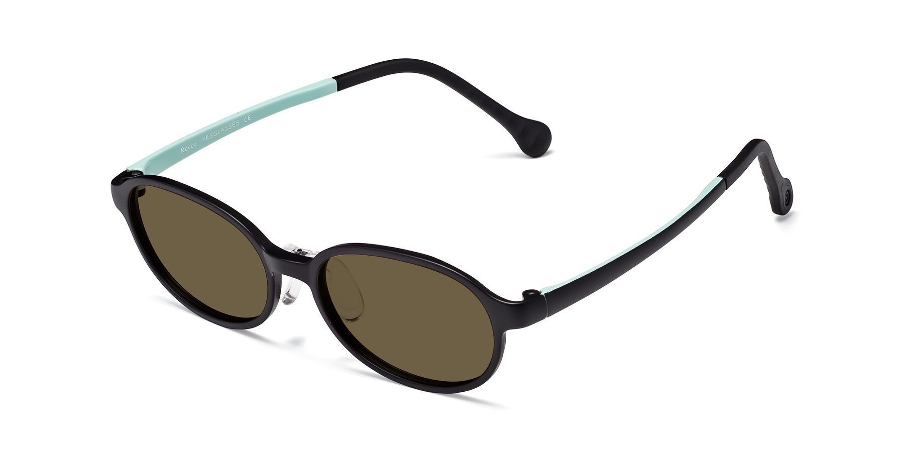 Angle of Reece in Black-Teal with Brown Polarized Lenses