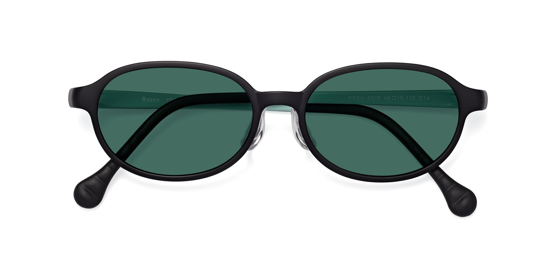 Folded Front of Reece in Black-Teal with Green Polarized Lenses