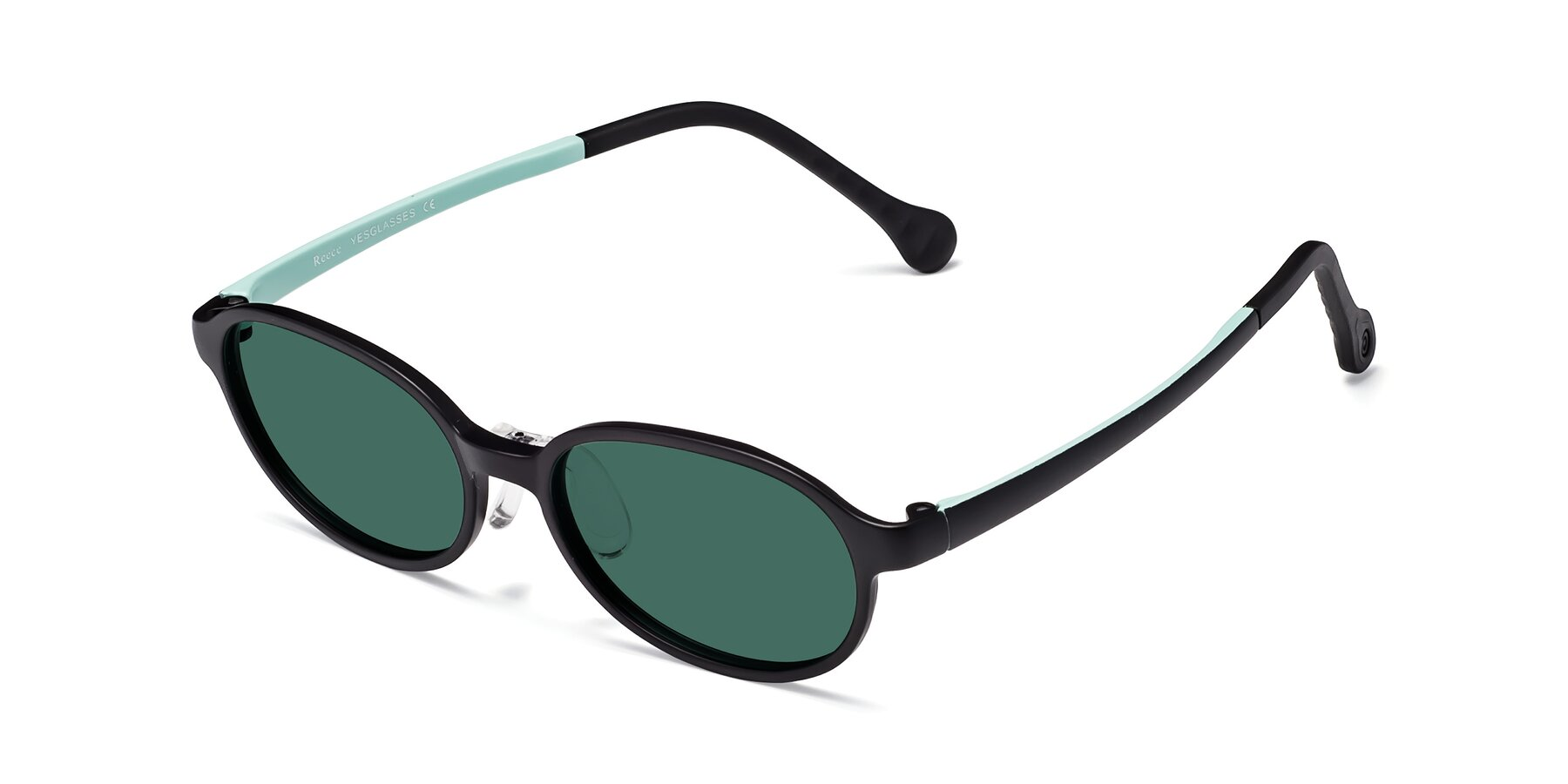 Angle of Reece in Black-Teal with Green Polarized Lenses