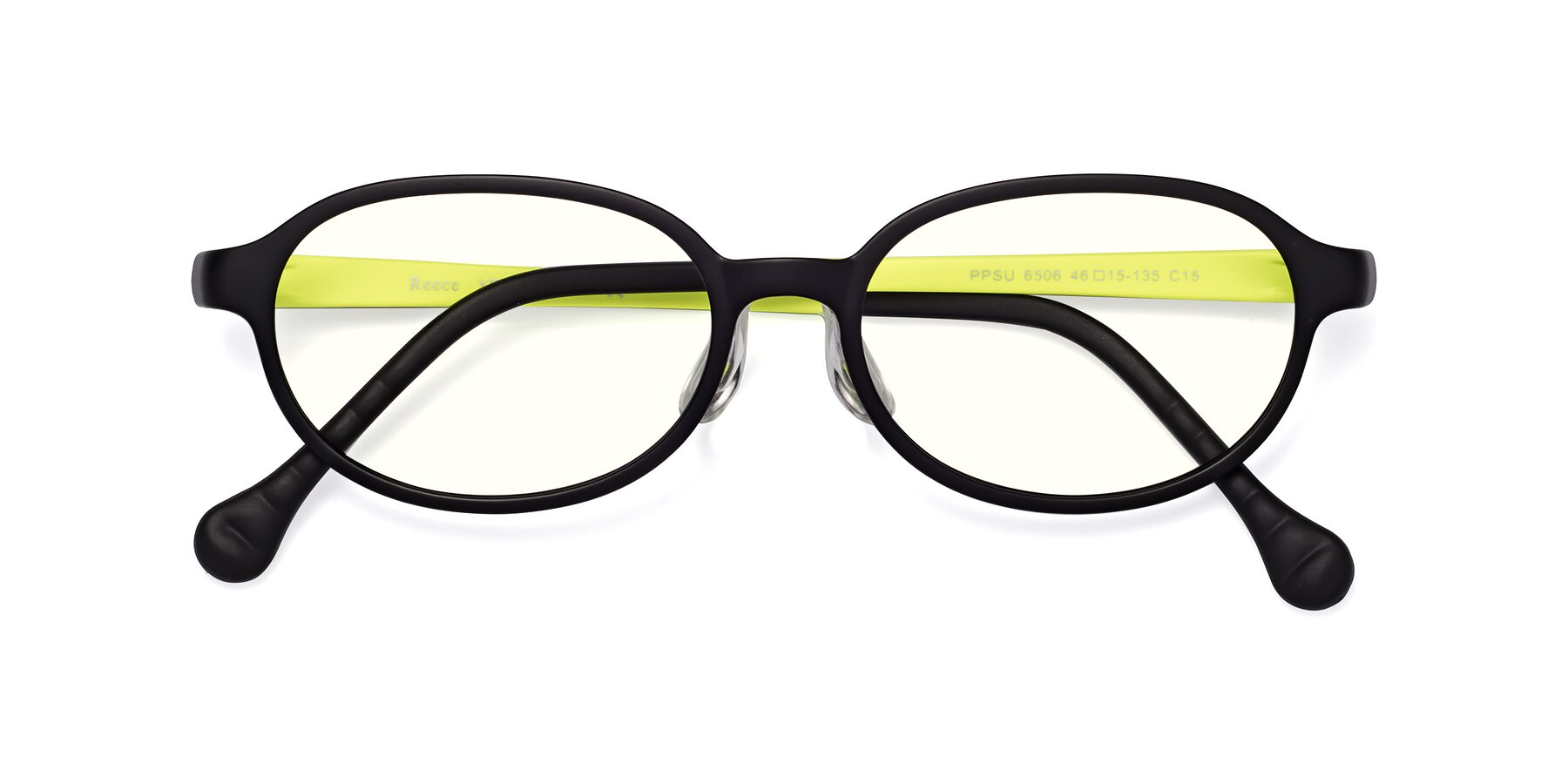 Folded Front of Reece in Black-New Leaf with Clear Blue Light Blocking Lenses