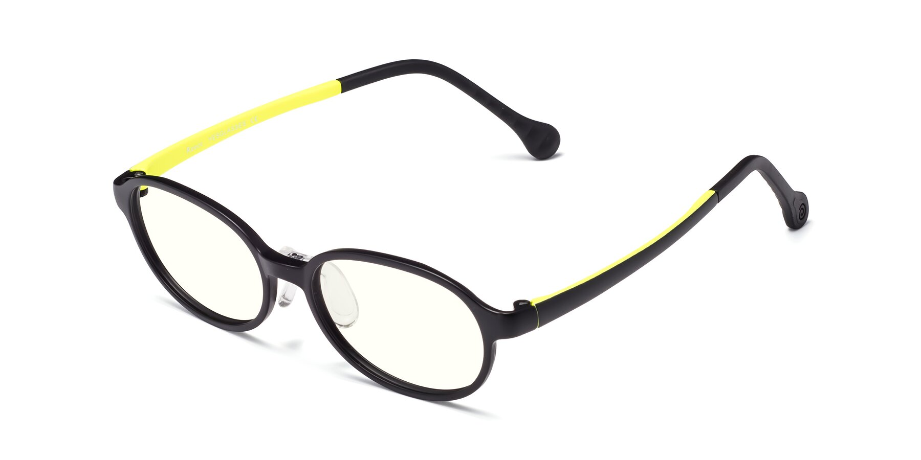 Angle of Reece in Black-New Leaf with Clear Blue Light Blocking Lenses