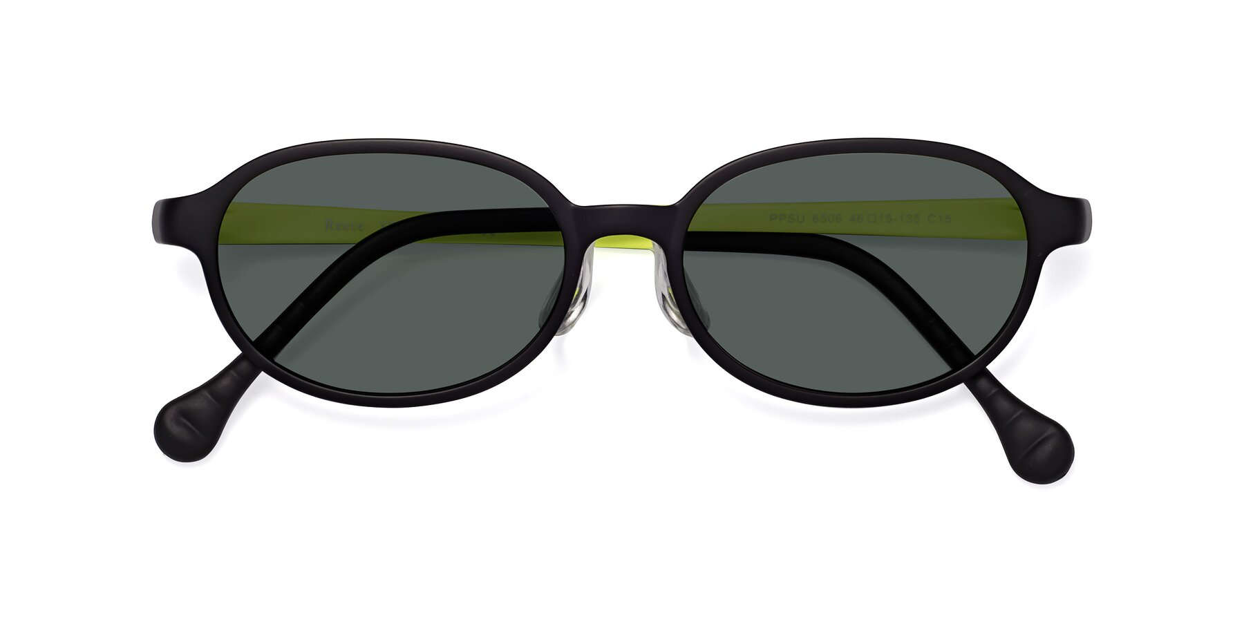 Folded Front of Reece in Black-New Leaf with Gray Polarized Lenses