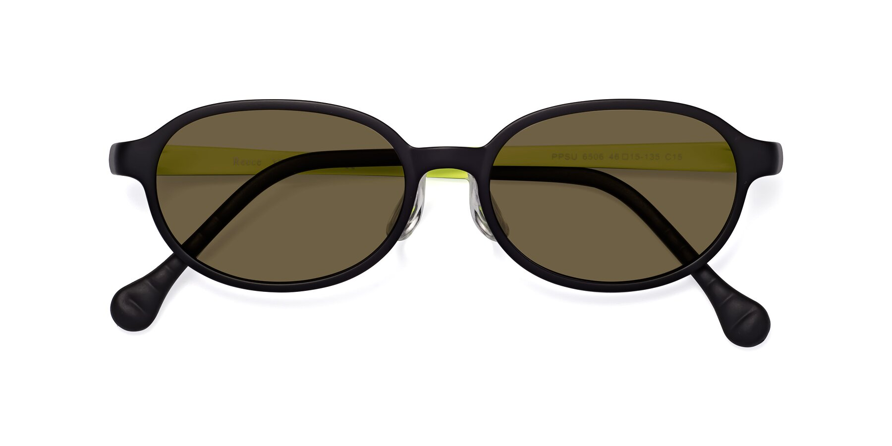 Folded Front of Reece in Black-New Leaf with Brown Polarized Lenses