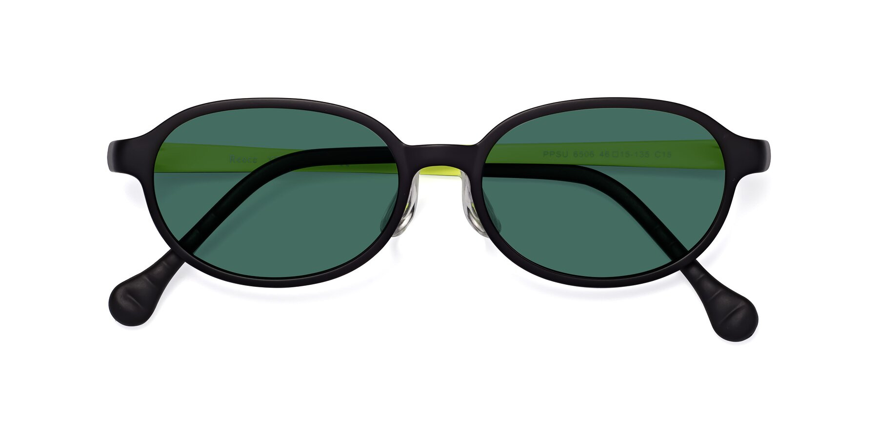 Folded Front of Reece in Black-New Leaf with Green Polarized Lenses